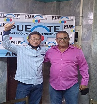 Wolgfagn Caraballo junto a Fabricio López, candidato a concejal por Puente en el municipio Sotillo